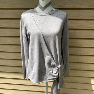 Anthro Stitch And Knot Side Tie Grey Sweater Large